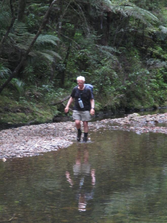 Bob making his way up stream